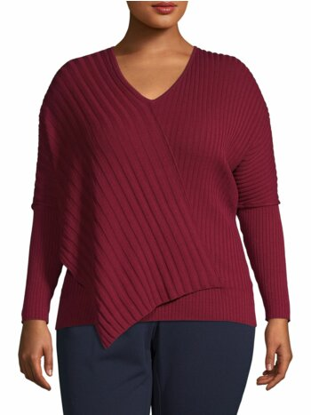 Plus Ribbed Asymmetric Sweater