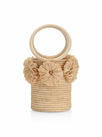The Together Forever Floral Appliqué Raffia Bucket Bag