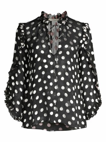 Julius Polka Dot Silk-Blend Ruffle-Sleeve Blouse