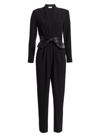 Kieran Leather Tie-Belt Jumpsuit