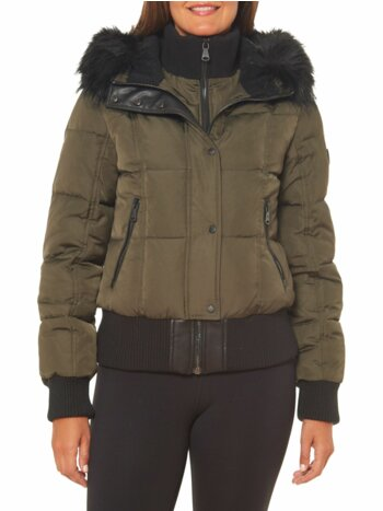 Faux Fur Trim Hooded Down Fill Puffer