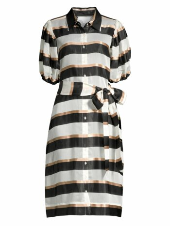 Stripe Puff-Sleeve Shirtdress