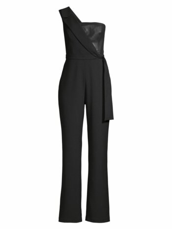 Napa Pleather-Trimmed Jumpsuit