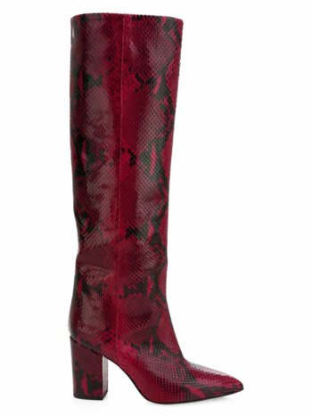 Knee-High Python-Embossed Leather Boots
