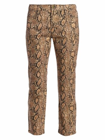 Le High Straight Python Print Coated Jeans
