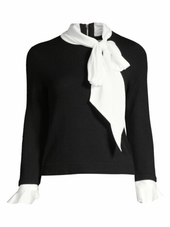 Justina Tieneck Wool & Stretch Silk Combo Sweater