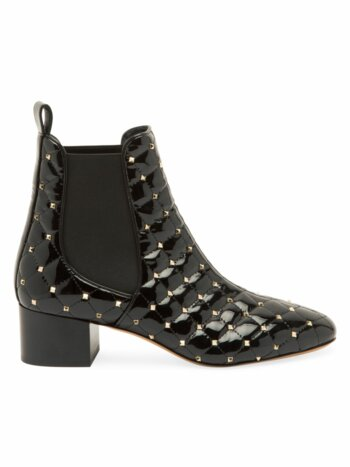 Rockstud Spike Patent Leather Chelsea Boots