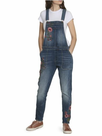 Floral Embroidered Denim Overalls