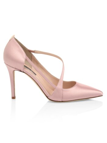 Cosmo Satin Diagonal Strap Pumps