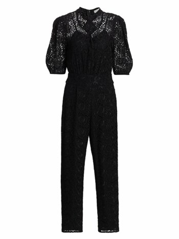 Floral Puff-Sleeve Eyelet Jumpsuit