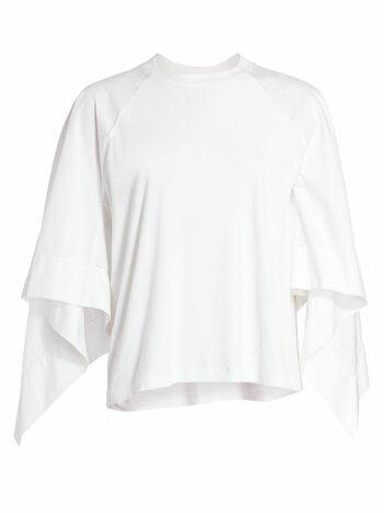 Scarf-Sleeve Cotton T-Shirt