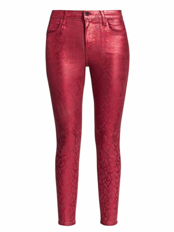 Alana High-Rise Coated Python Print Crop Skinny Jeans