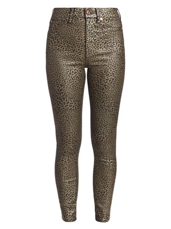 High-Rise Metallic Leopard Skinny Jeans