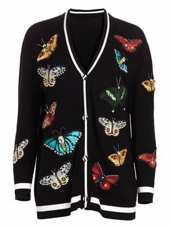 Bradford Butterfly-Embroidered Wool-Blend Cardigan