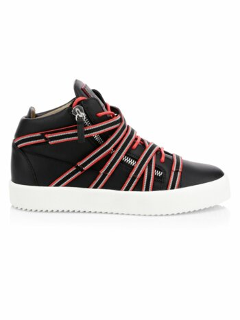 Mid-Top Strap Leather Sneakers