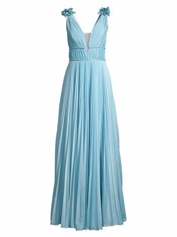 Pleated Metallic A-line Gown