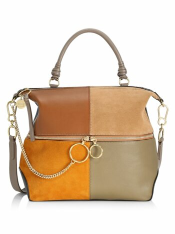 Emy Colorblocked Suede & Leather Zip Satchel