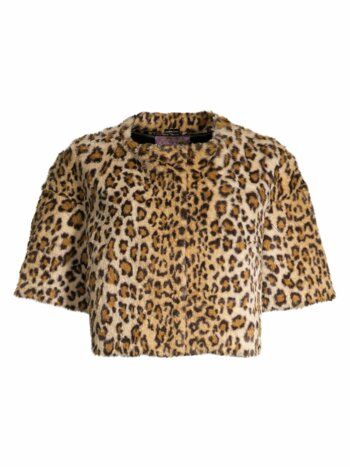 Leopard Faux-Fur Crop Jacket