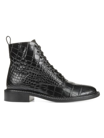 Cabria Crocodile-Embossed Leather Combat Boots
