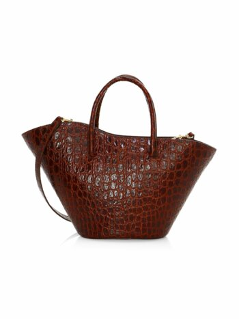 Small Tulip Open Croc-Embossed Leather Tote