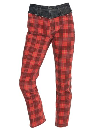 Bettie High-Rise Mixed-Media Plaid Tapered Jeans