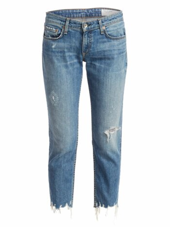 Dre Low-Rise Distressed Slim Boyfriend Jeans