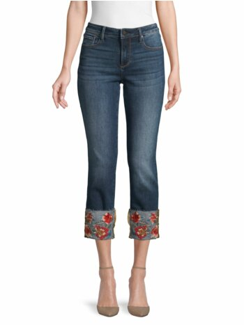 Colette Floral Embroidery Straight Cropped Jeans