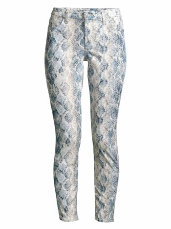 High-Rise Python Ankle Skinny Jeans