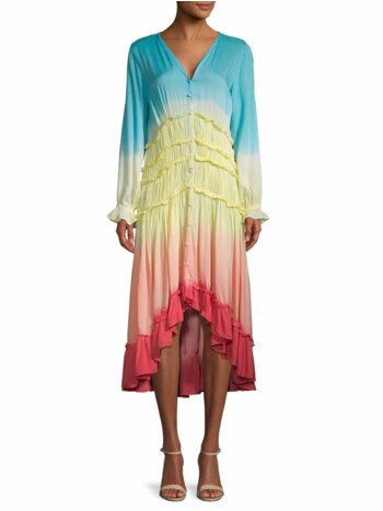 Tie-Dyed Pleated Button-Front Dress
