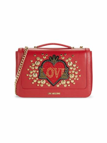Heart Embellished Faux Leather Crossbody Bag