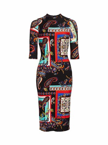 Delora Paisley Print Bodycon Dress