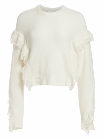 Fringe-Trim Crewneck Sweater