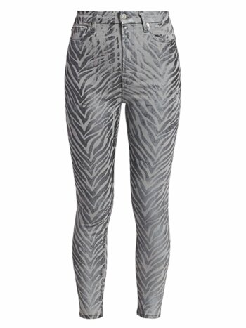 Metallic Zebra Print Coated High-Rise Skinny Jeans
