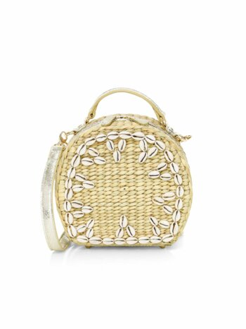 The Ariana Shell Embellished Woven Box Shoulder Bag