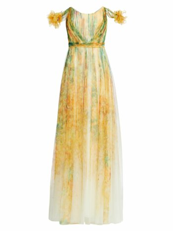 Printed Tulle Gown