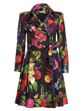Leila Floral Fit-&-Flare Coat