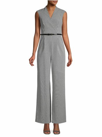 Sleeveless Gingham-Print Belted Jumpsuit