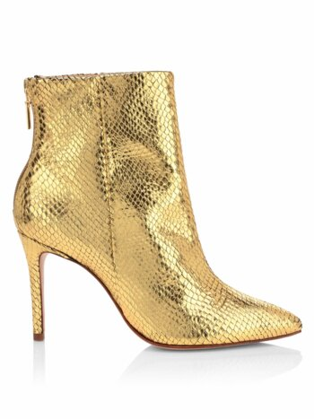 Michela Lizard-Embossed Metallic Leather Ankle Boots
