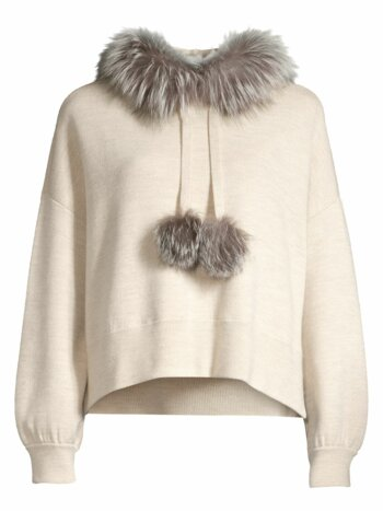 Oscar Silver Fox Fur-Trim Hooded Sweater