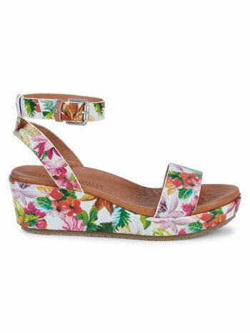 Morrie Floral Leather Ankle-Strap Wedge Sandals