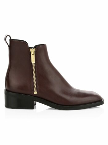 Alexa Stacked-Heel Leather Booties