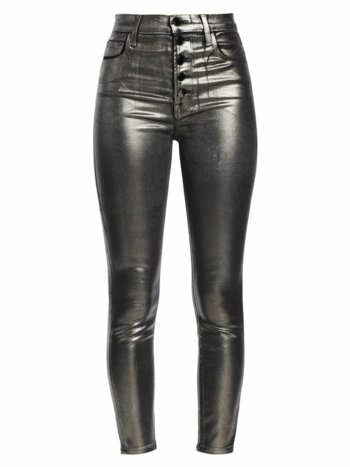 Lillie High-Rise Skinny Coated Metallic Jeans