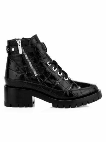 Hayett Croc-Embossed Leather Combat Boots