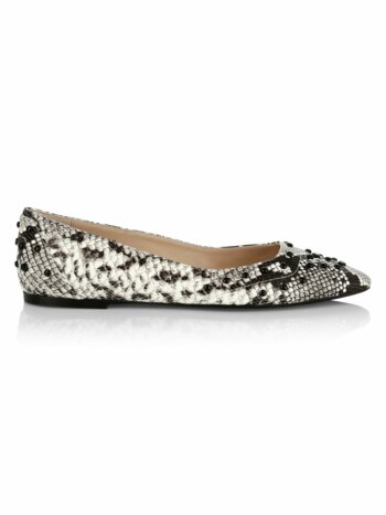 Python-Embossed Leather Ballerina Flats