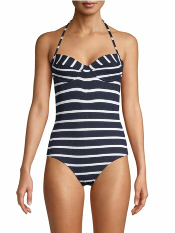 Striped Halter One-Piece Swimsuit