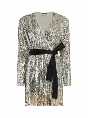 Samantha Sequin Fringe A-Line Wrap Dress