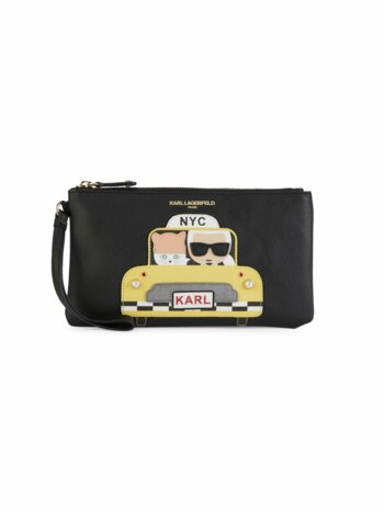 Faux Pearl Embellished Taxi Graphic Wristlet