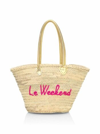 Le Weekend Embroidered Straw Tote