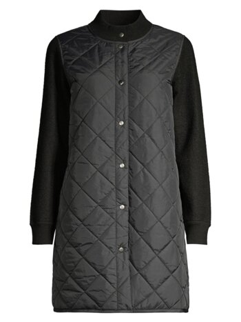 Stand Collar Quilted Wool Coat
