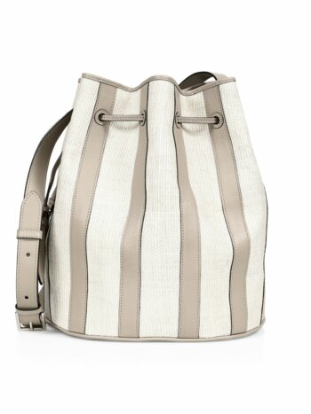 Extra-Large Drawstring Stripe Leather & Fique Bucket Bag